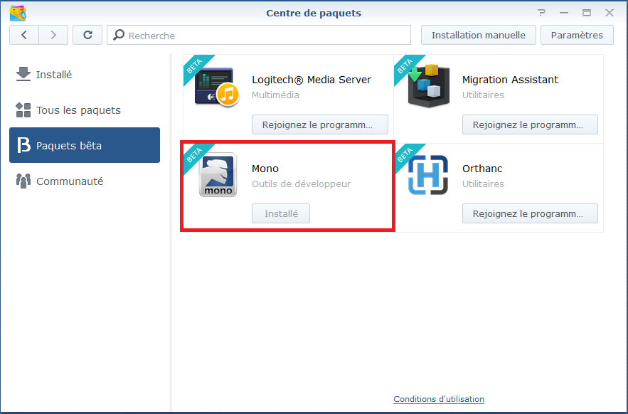 Mono installation on Synology
